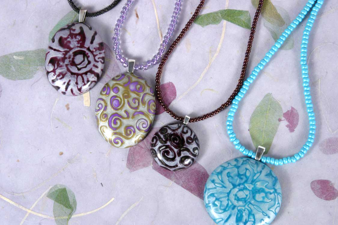 Polymer Clay Pendant Mokume Gane Susan Jefferson Jewelry Designs