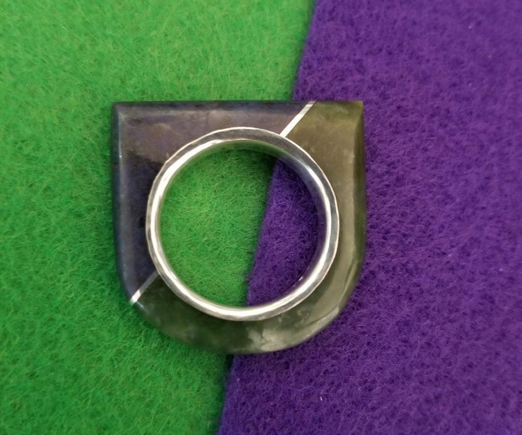 Lepidolite & Jade Ring with Fine Silver Liner