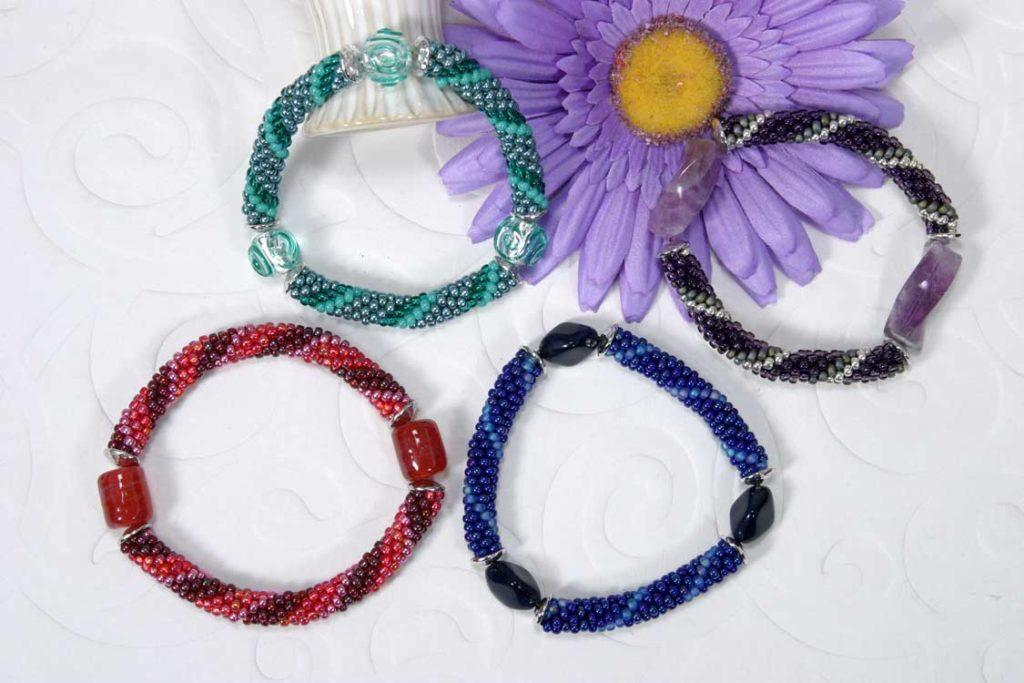 Bead Crochet Bangles With Focal Beads