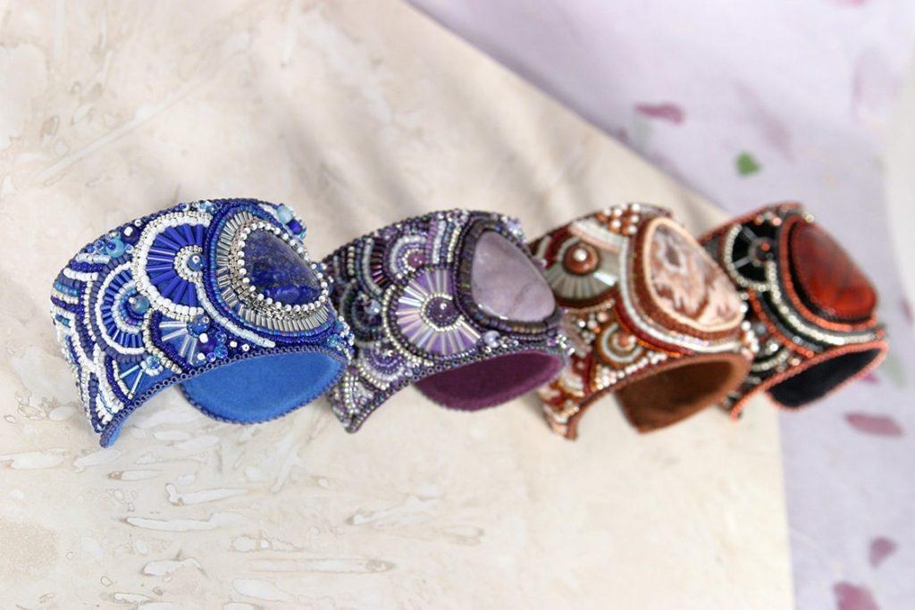 Beaded Cabochon Cuffs