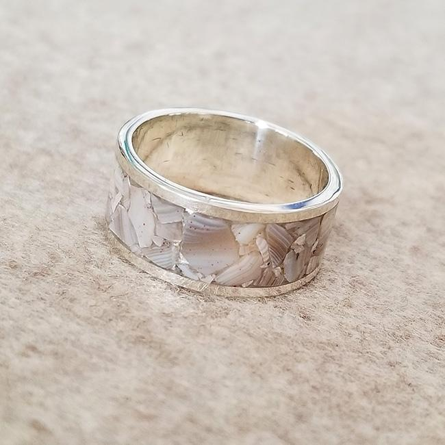 Crazy Lace Agate Inlay RIng