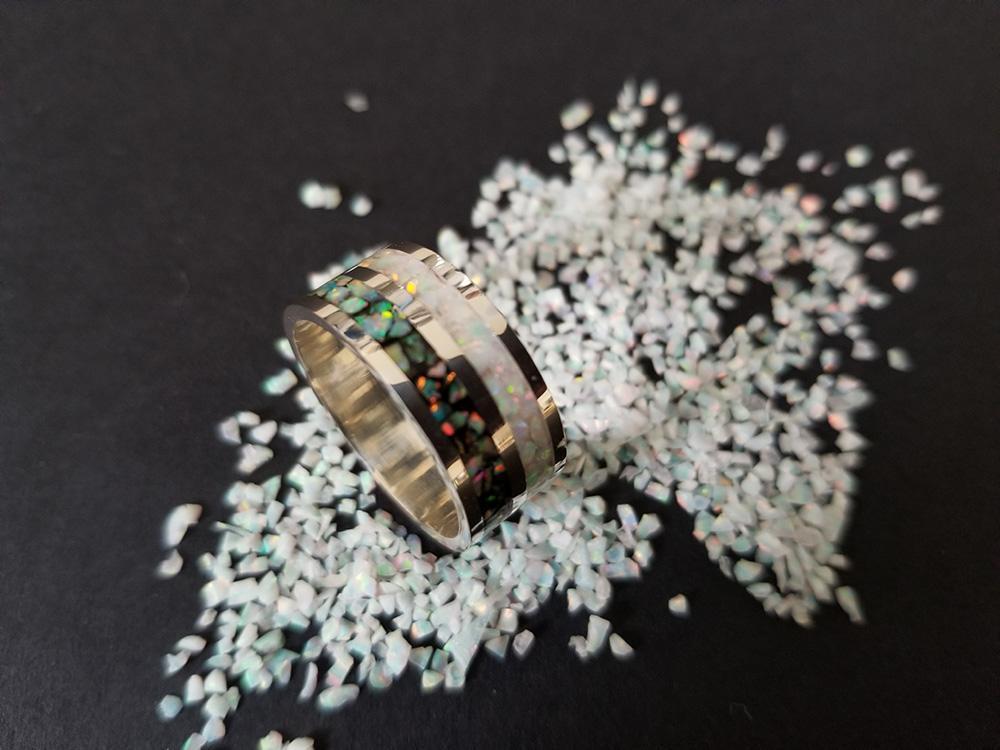 Black & White Opal Ring