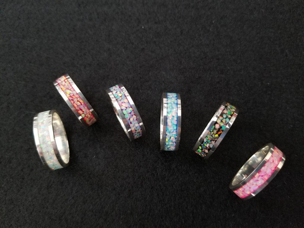 Multicolor Crushed Opal Rings