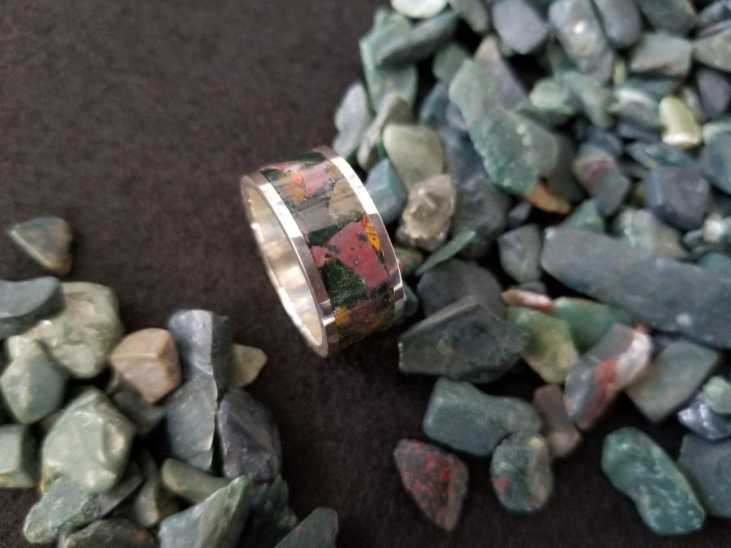 Bloodstone & Sterling Silver Inlay Ring